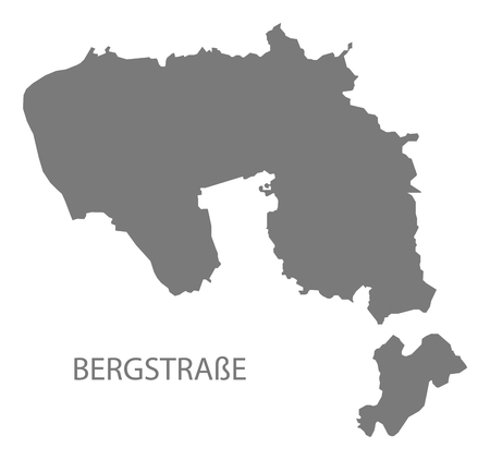 Bergstrasse grey county map of Hessen Germany