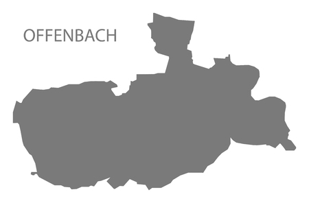 Offenbach grey county map of Hessen Germany