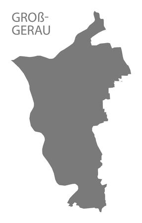 Gross-Gerau grey county map of Hessen Germany Stock Vector - 123112134