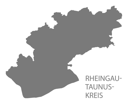 Rheingau-Taunus-Kreis grey county map of Hessen Germany