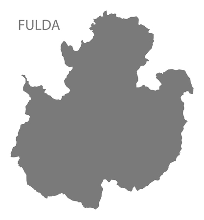 Fulda grey county map of Hessen Germany Stock Vector - 121545393