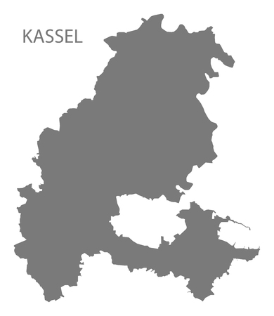 Kassel grey county map of Hessen Germany Stock Vector - 121545394