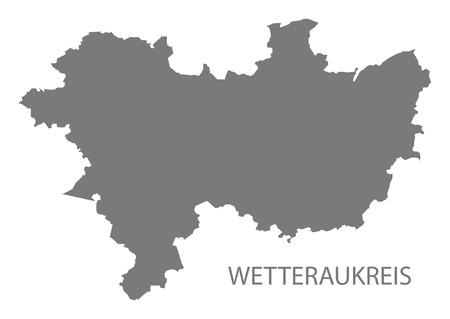 Wetteraukreis grey county map of Hessen Germany Stock Vector - 123112137