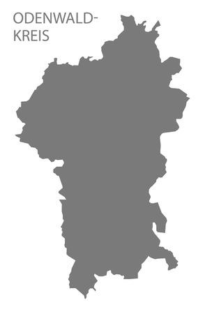 Odenwaldkreis grey county map of Hessen Germany Stock Vector - 123112143