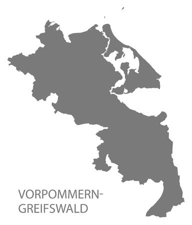 Vorpommern-Greifswald grey county map of Mecklenburg Western Pomerania DE