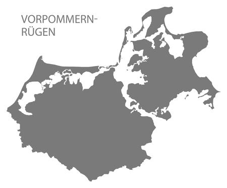 Vorpommern-Ruegen grey county map of Mecklenburg Western Pomerania DE 일러스트