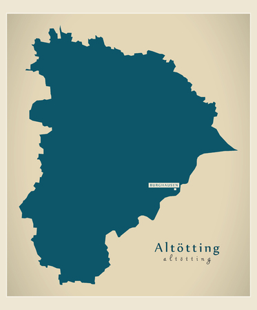 Modern Map - Altoetting county of Bavaria DE Vettoriali