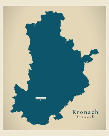 Modern Map - Kronach county of Bavaria DE Vetores