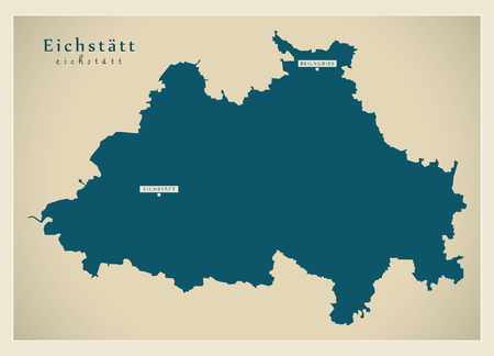 Modern Map - Eichstaett county of Bavaria DE 向量圖像