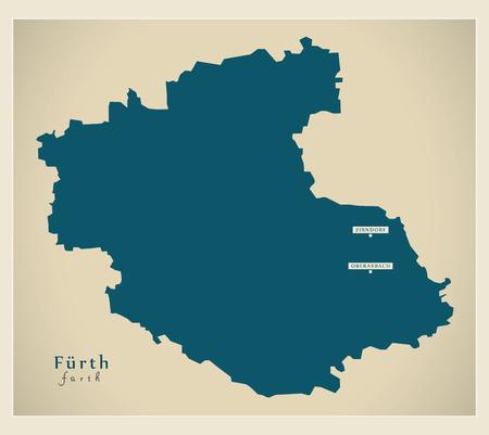 Modern Map - Fuerth county of Bavaria DE