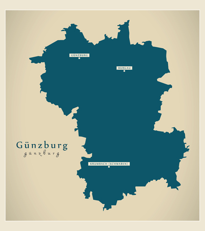 Modern Map - Guenzburg county of Bavaria DE