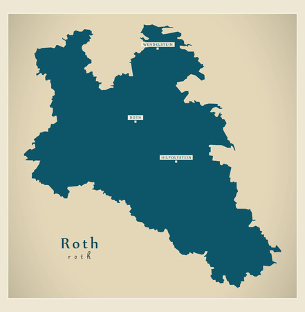 Modern Map - Roth county of Bavaria DE