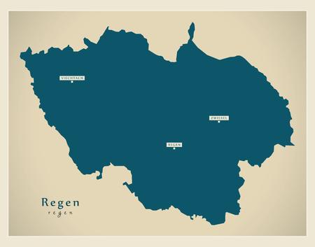Modern Map - Regen county of Bavaria DE Vetores