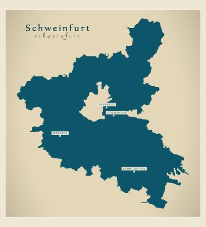 Modern Map - Schweinfurt county of Bavaria DE