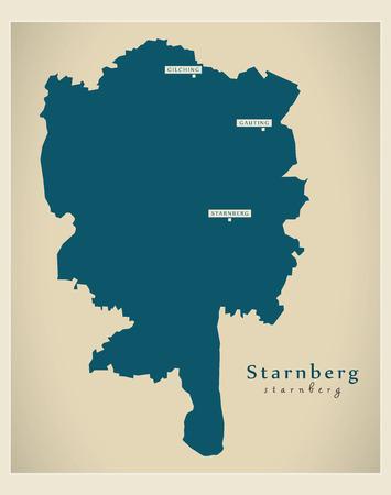 Modern Map - Starnberg county of Bavaria DE Illustration