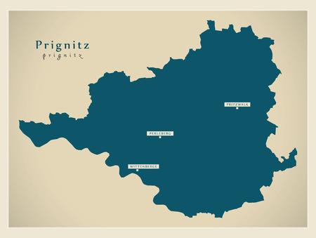 Modern Map - Prignitz county of Brandenburg DE