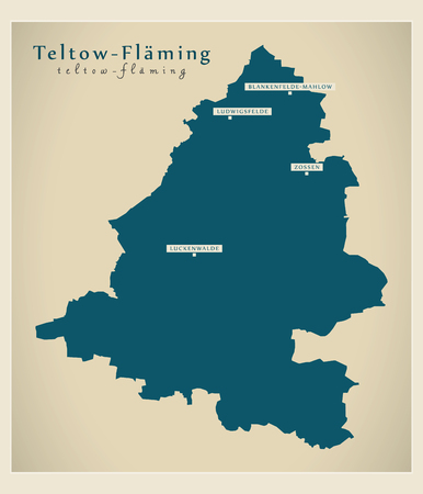 Modern Map - Teltow-Flaeming county of Brandenburg DE Illustration