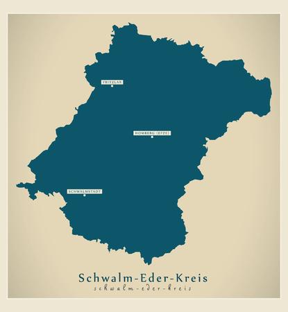 Modern Map - Schwalm-Eder-Kreis county of Hessen DE Ilustração