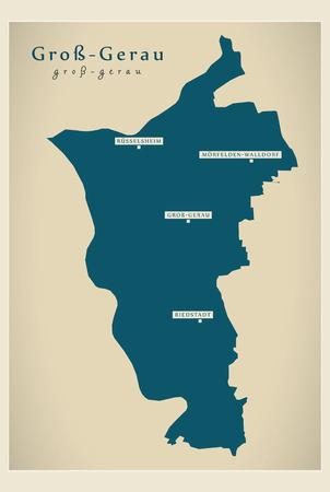 Modern Map - Gross-Gerau county of Hessen DE Illustration