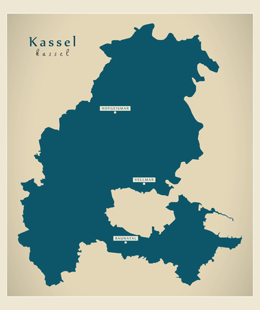 Modern Map - Kassel county of Hessen DE Stock Vector - 122995000