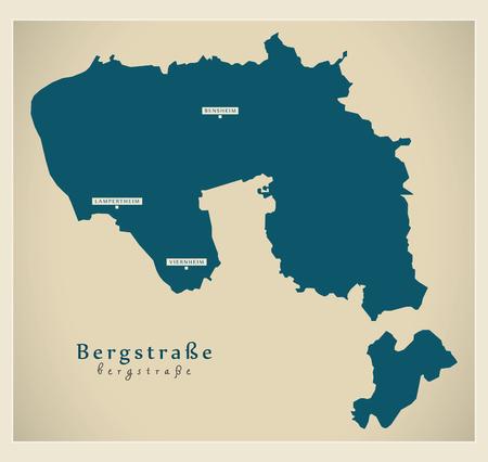 Modern Map - Bergstrasse county of Hessen DE Stock Vector - 122406183