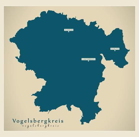 Modern Map - Vogelsbergkreis county of Hessen DE Stock Vector - 122406185