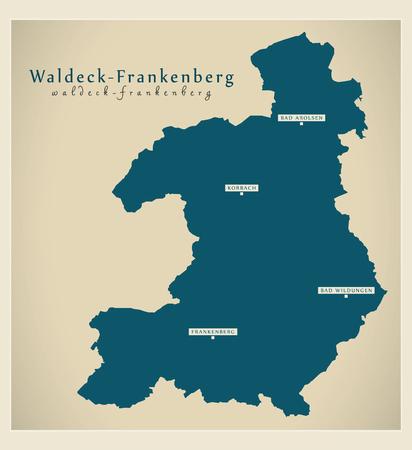 Modern Map - Waldeck-Frankenberg county of Hessen DE Stock Vector - 122995012