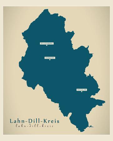 Modern Map - Lahn-Dill-Kreis county of Hessen DE Vettoriali
