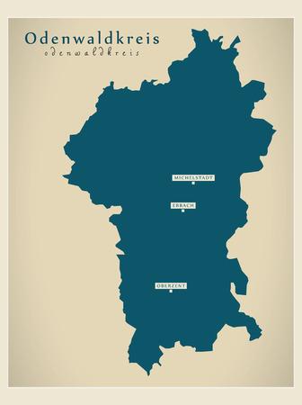 Modern Map - Odenwaldkreis county of Hessen DE Stock Vector - 122406188