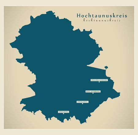 Modern Map - Hochtaunuskreis county of Hessen DE Stock Vector - 122129256