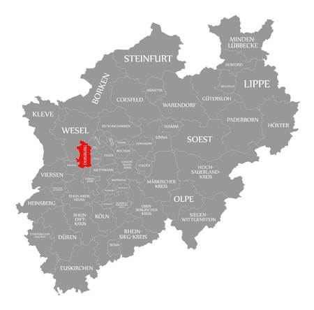 Duisburg red highlighted in map of North Rhine Westphalia DE