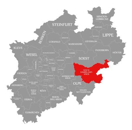 Hochsauerlandkreis county red highlighted in map of North Rhine Westphalia DE