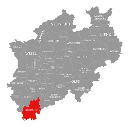 Euskirchen red highlighted in map of North Rhine Westphalia DE