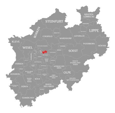 Herne red highlighted in map of North Rhine Westphalia DE