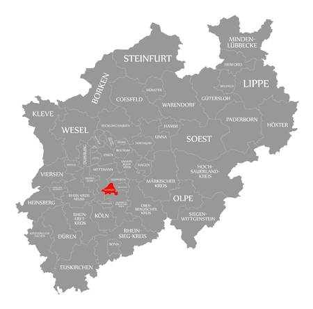 Solingen red highlighted in map of North Rhine Westphalia DE