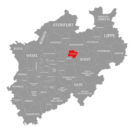 Hamm red highlighted in map of North Rhine Westphalia DE