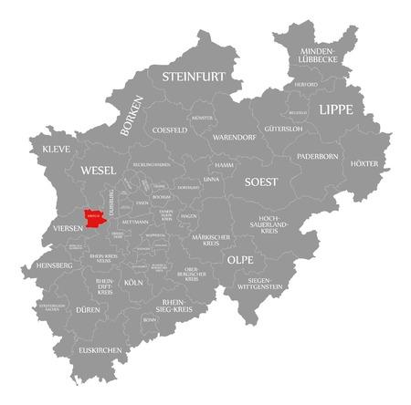Krefeld red highlighted in map of North Rhine Westphalia DE