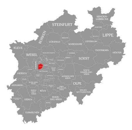 Muelheim an der Ruhr red highlighted in map of North Rhine Westphalia DE