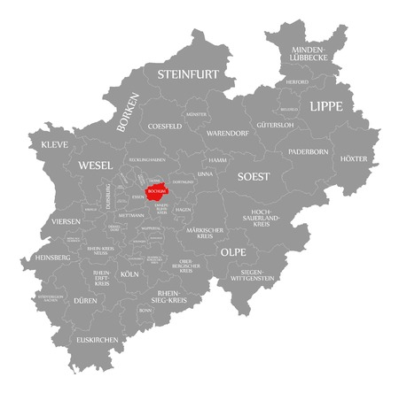 Bochum red highlighted in map of North Rhine Westphalia DE