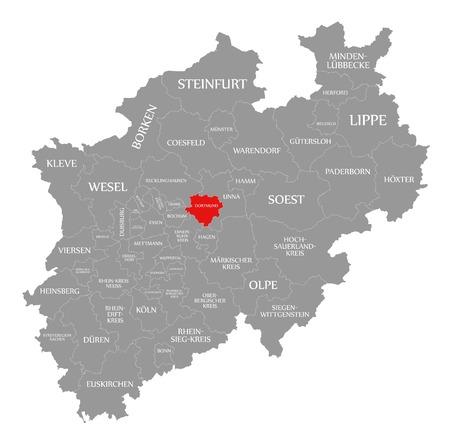 Dortmund red highlighted in map of North Rhine Westphalia DE Imagens
