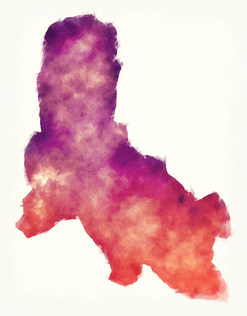 Svay Rieng province watercolor map of Cambodia
