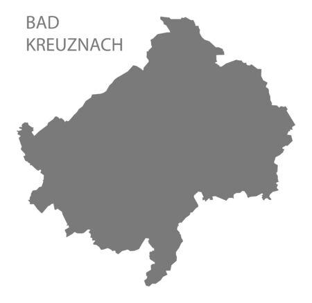 Bad Kreuznach grey county map of Rhineland-Palatinate DE