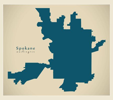 Modern City Map - Spokane Washington city of the USA