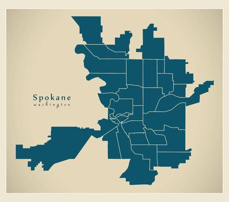 Modern City Map - Spokane Washington city of the USA with neighborhoods Illusztráció