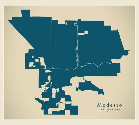 Modern City Map - Modesto California city of the USA with neighborhoods 矢量图像