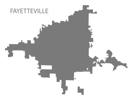 Fayetteville North Carolina city map grey illustration silhouette shape