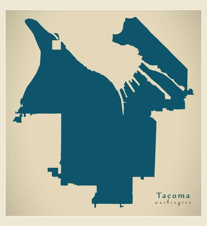 Modern City Map - Tacoma Washington city of the USA