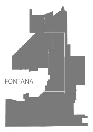 Fontana California city map with districts grey illustration silhouette shape