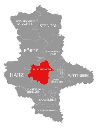 Salzlandkreis rot markiert in Karte von Sachsen-Anhalt Deutschland DE Standard-Bild