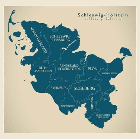 Modern Map - Schleswig-Holstein map of Germany with counties and labels